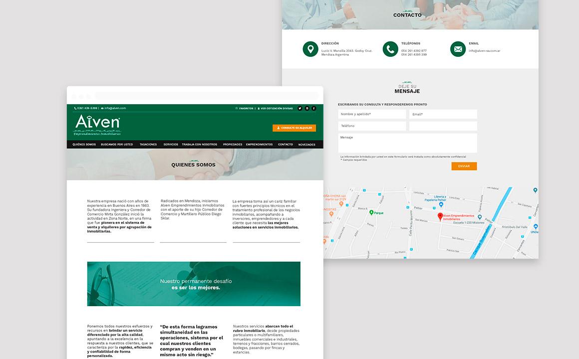 Diseño páginas web para Alven Inmobiliaria